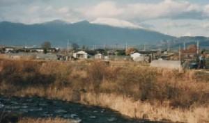 平賀から望む冠雪の浅間山、1995年撮影 (柳沢正良様提供)